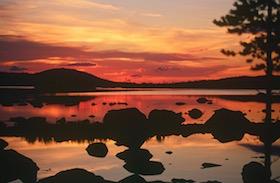 Coucher de soleil, Laponie suédoise, Sapmi